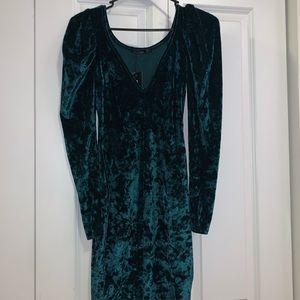 Size 4 forest green crushed velvet dress